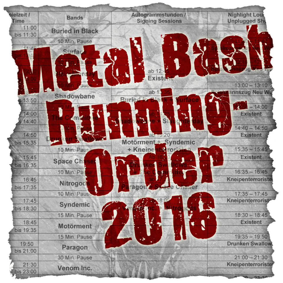 Metal Bash Festival, Running Order